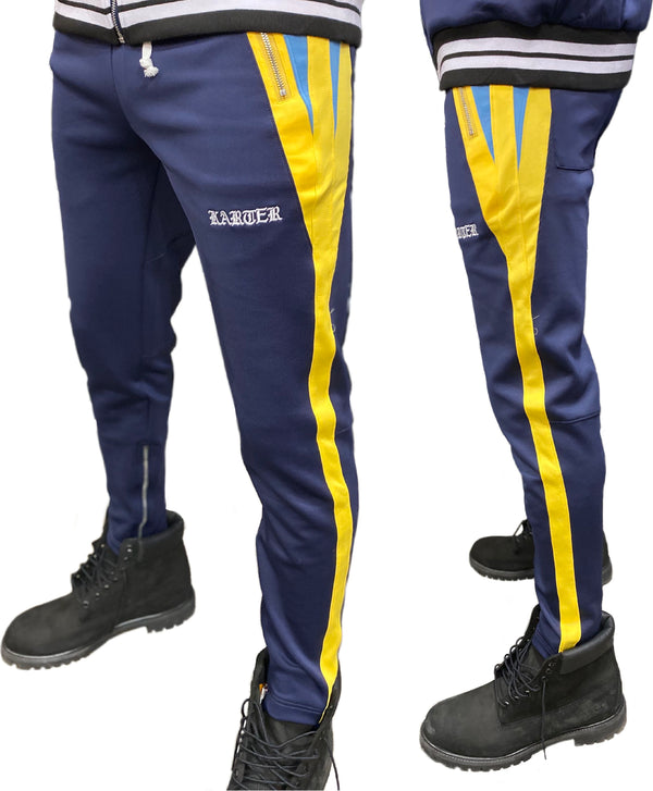 Karter Collection: Roosevelt Track Pants (Navy/Yellow)