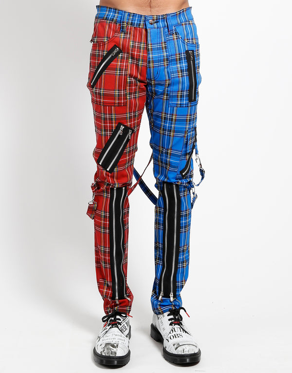 TRIPP: Plaid Split Bondage Jeans (Blue/Red)