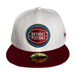New Era Authentic 59Fifty Fitted: Detroit Pistons Retro Logo(White/Burgundy)
