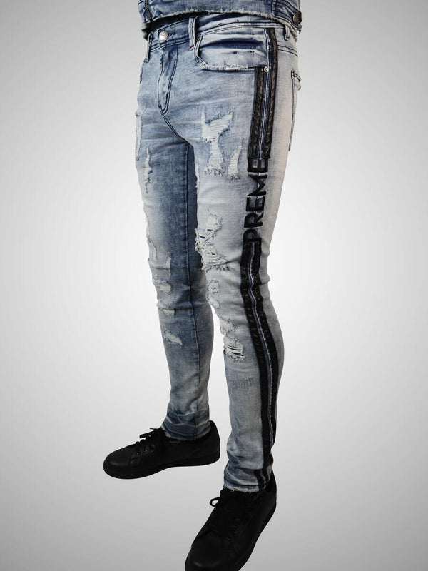 Preme: Peruvian Indigo Denim (Leather Stripes)