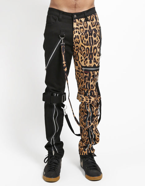 TRIPP: Plaid Split Bondage Jeans (Black/Leopard)