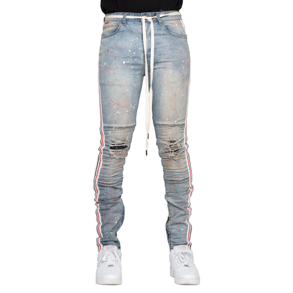 EPTM: Striped & Distressed Biker Denim