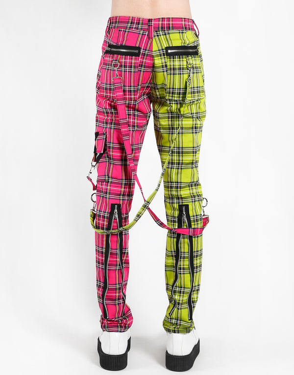 TRIPP: Plaid Split Bondage Jeans (Lime/Pink)