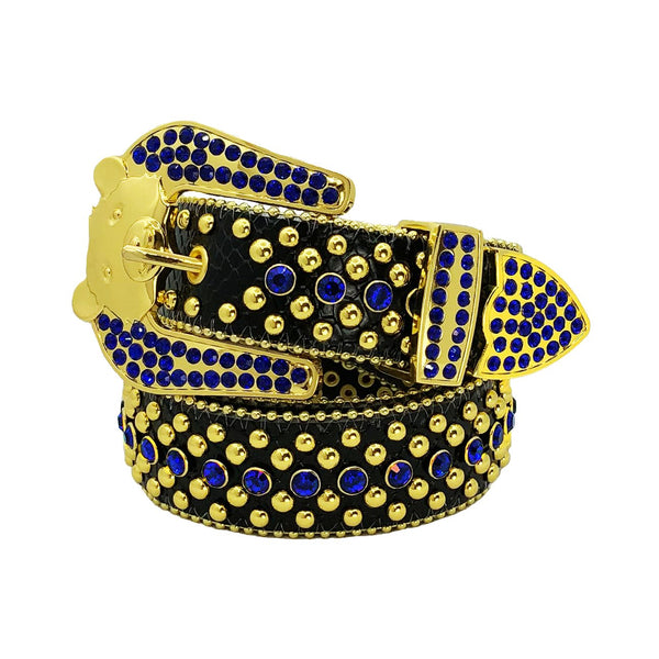 Elite: Bear Buckle Belt Blue Leather with Blue Stones & Gold Studs
