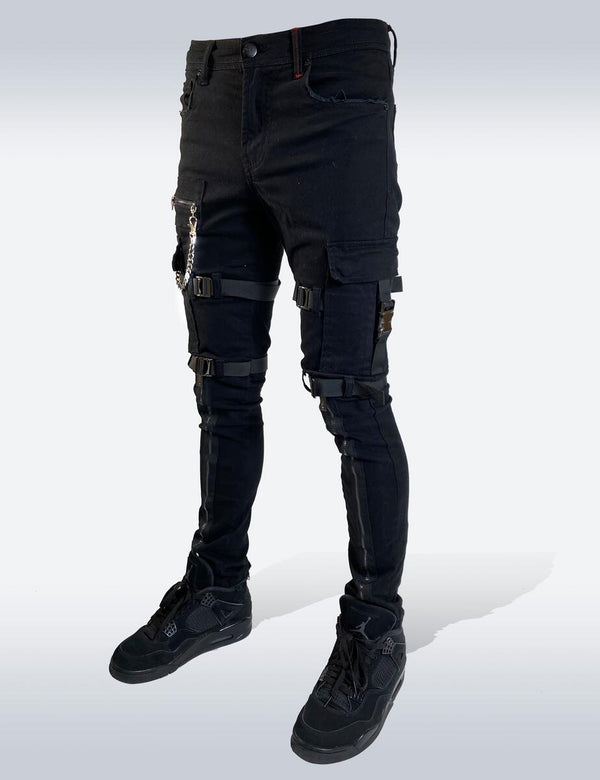 Preme: Buffalo Black Utility Strapped Denim