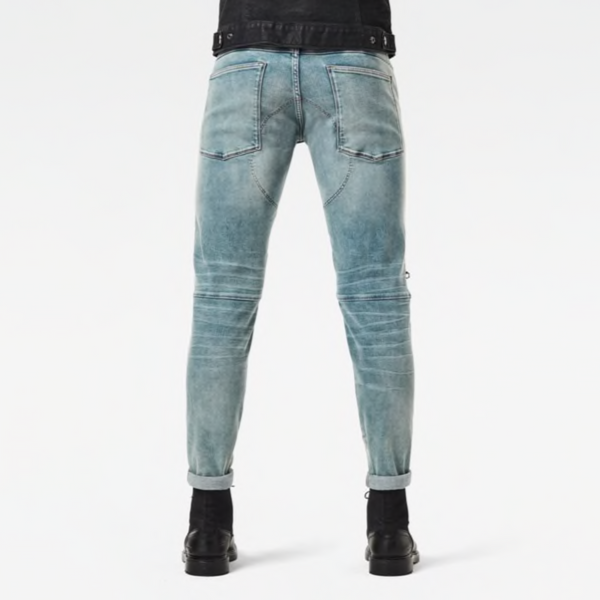 G-STAR RAW: 5620 3D ZIP KNEE SKINNY Denim Jeans (SUN FADED SCANDA BLUE)
