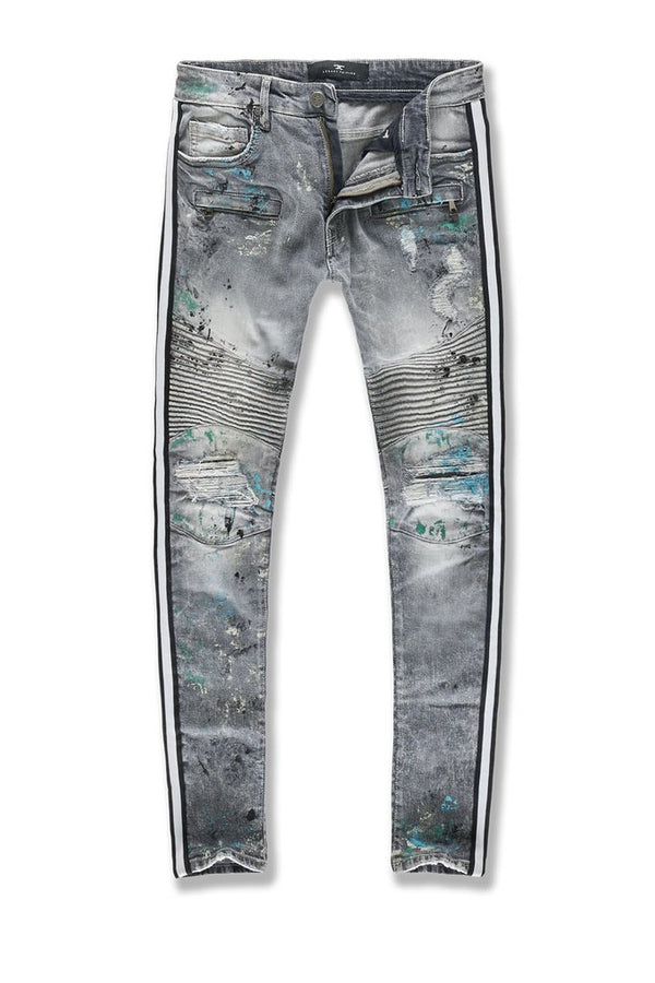 Jordan Craig: Sean Striped Renegade Moto Denim (Painted Sea Serpent)