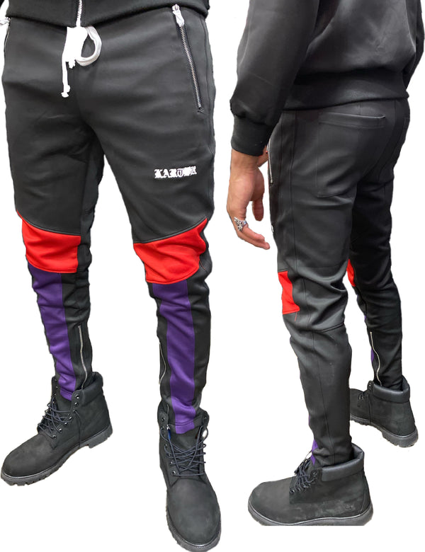 Karter Collection: Manzo Track Pants (Black/Purple/Red)