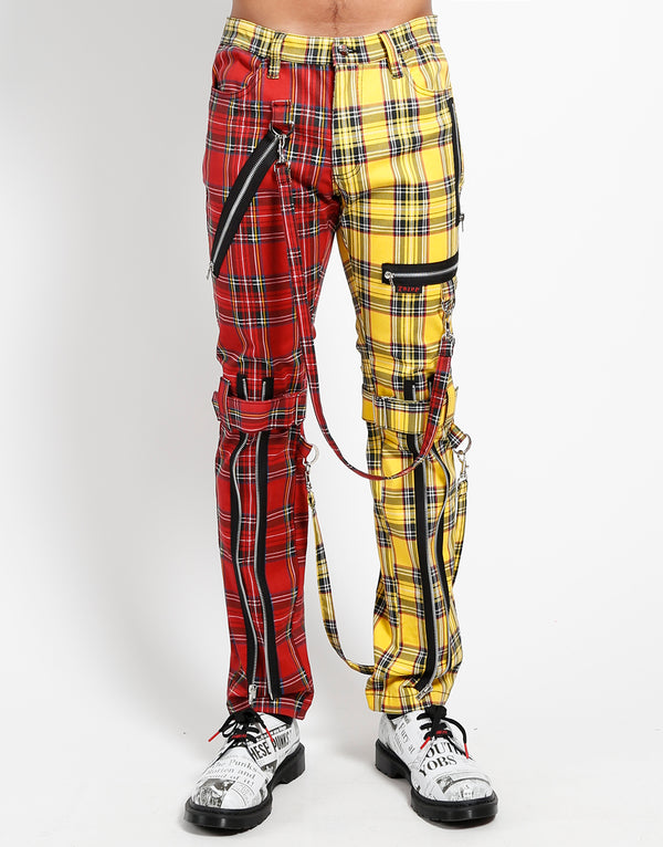 TRIPP: Plaid Split Bondage Jeans (Red/Yellow)