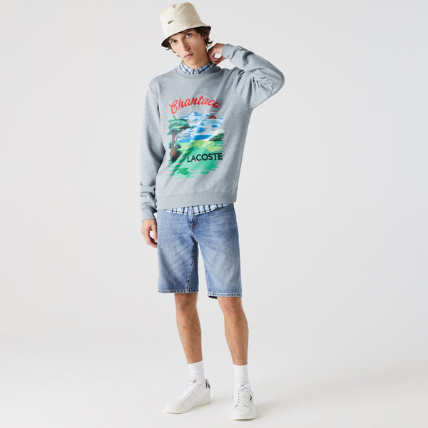 Lacoste: Men's Crew Neck Landscape Print Fleece Sweater ( GREY CHINE / RED )
