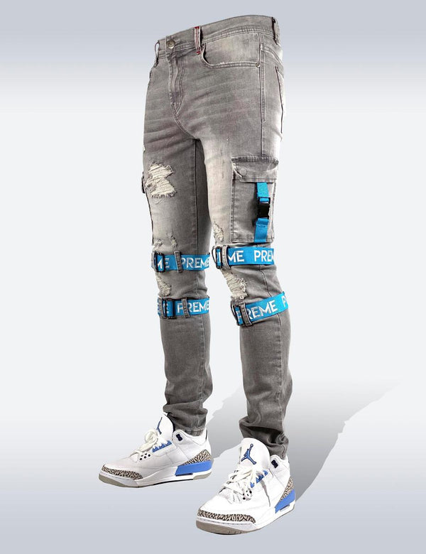 Preme: Berlin Grey Strapped Cargo Denim (Sky Blue Straps)