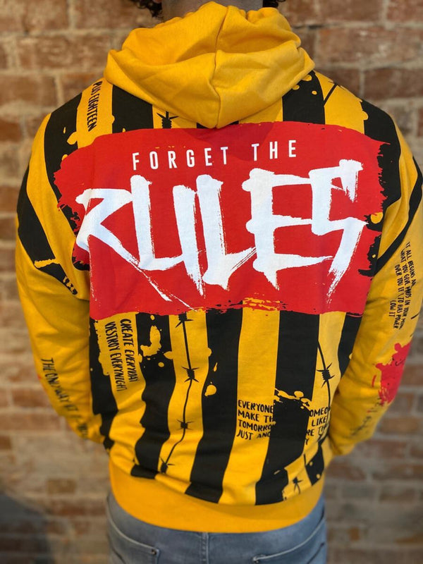 Plus Eighteen: Forget The Rules Hoodie (Gold/Black/Red)