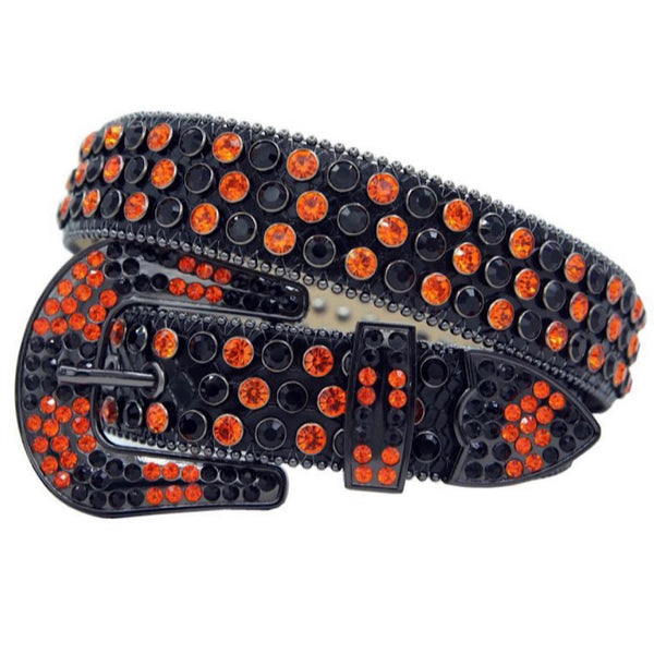 DNA: DNA Belt Black Leather with Black/Orange Stones