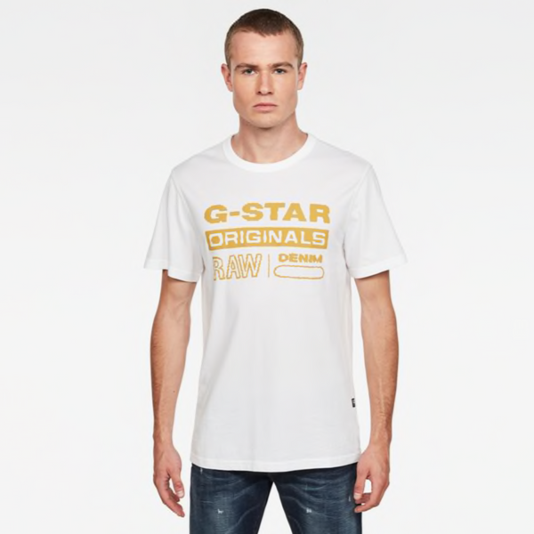 G-STAR RAW: WAVY LOGO ORIGINALS T-SHIRT (White)