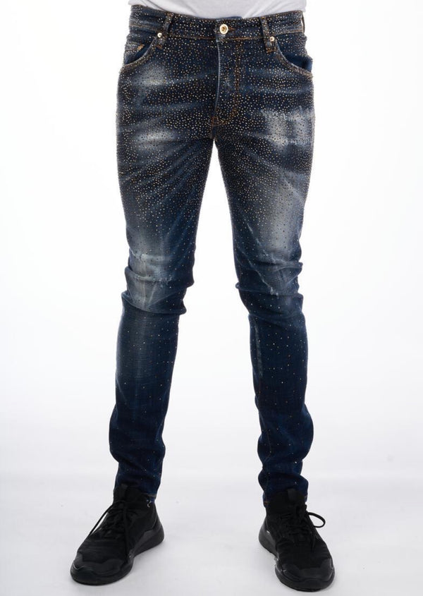 GEORGE V: GV-4012 (Blue/Gold) Infinity Jeans