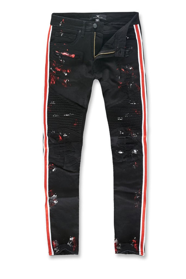 Jordan Craig: Sean Striped Renegade Moto Denim (Painted Black/Red)
