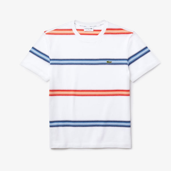 Lacoste: Men's Made in France Striped Cotton Piqué Crew Neck T-shirt (White/Blue/Red)