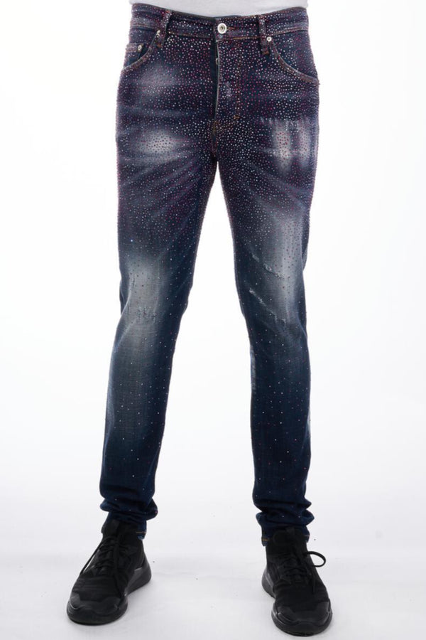 GEORGE V: GV-4012 (Blue/Pink) Infinity Jeans