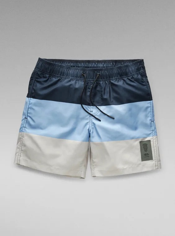 G-STAR RAW:Dirik Block Stripe Swimshorts (Mazarine Blue)