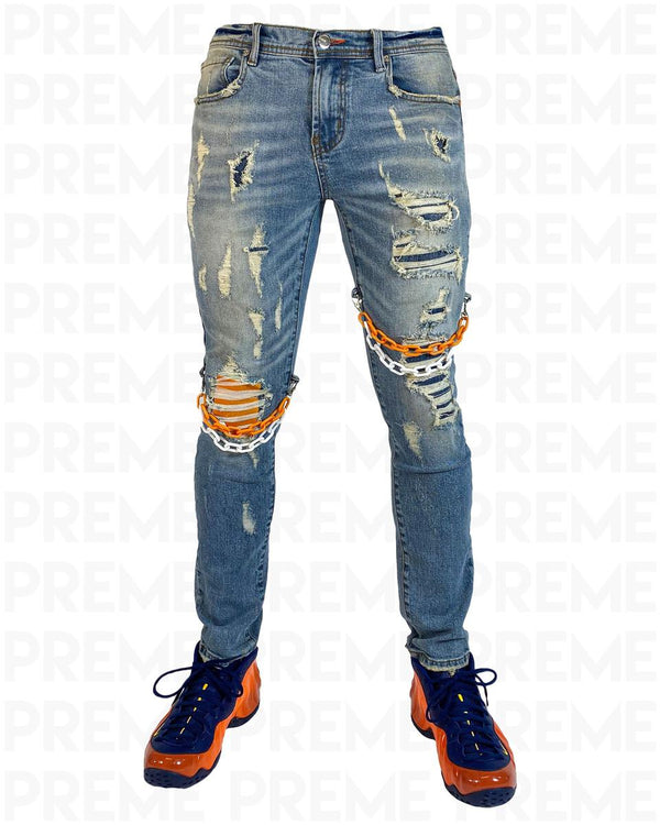 Preme: Bethlehem Indigo Biker Denim (Orange Chains)