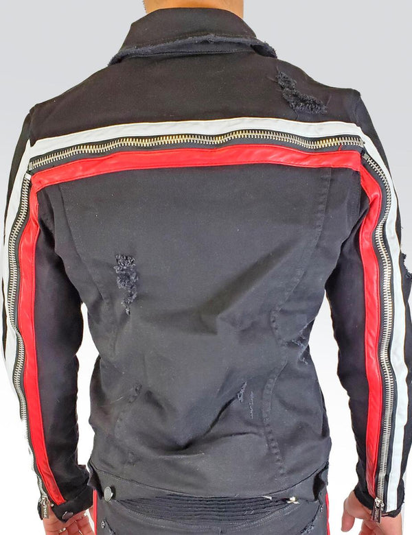 Preme: Buffalo Black Denim Jacket (White & Red Leather Stripes)