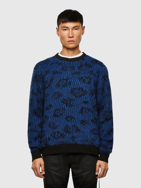 DIESEL: K-AZOTIC PULLOVER SWEATER (BLUE WEB)