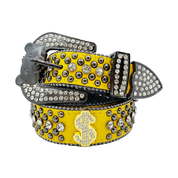 Elite: Bear Buckle Money Belt Yellow Leather with White Stones & Silver Studs