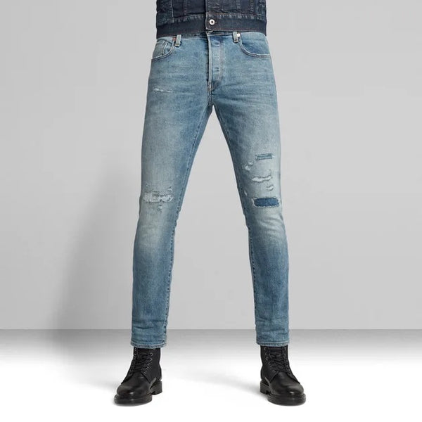 G-STAR RAW: 3301 SLIM STRETCH DENIM (VINTAGE OCEAN BLUE)
