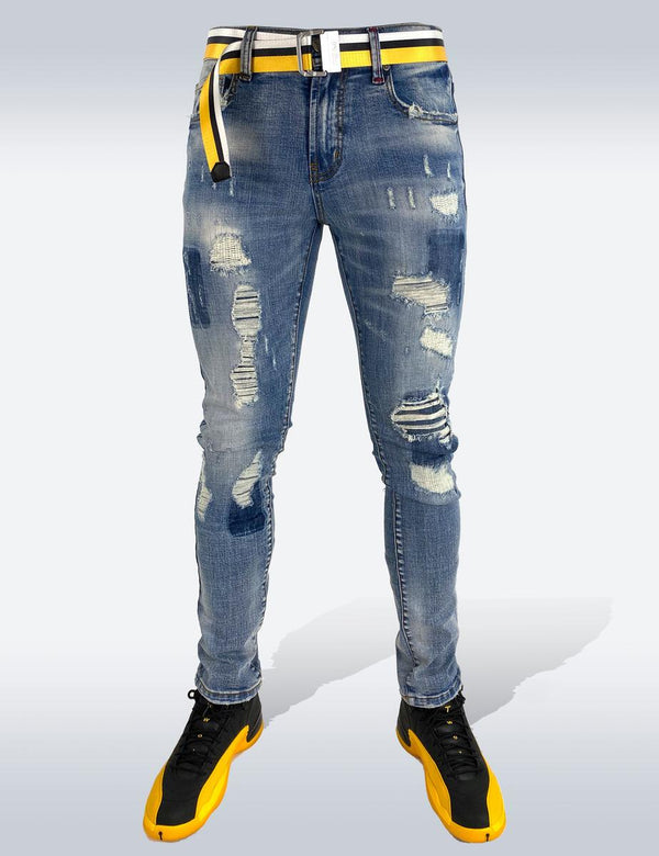 Preme: Distressed Indigo Denim (Yellow Belt)