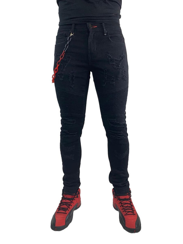 Preme: Buffalo Biker Denim (Red Ombre Chains)
