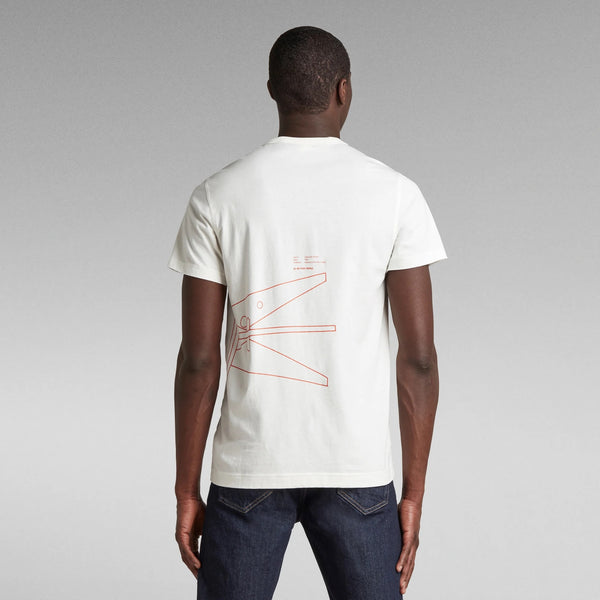G-STAR RAW: CIRCLE OBJECT BACK GRAPHIC T-SHIRT (MILK)