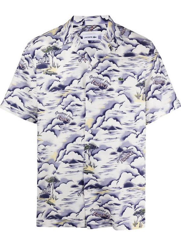 Lacoste: Men's Southern France Print Cotton Hawaiian Fit Shirt (Purple/Yellow/White)