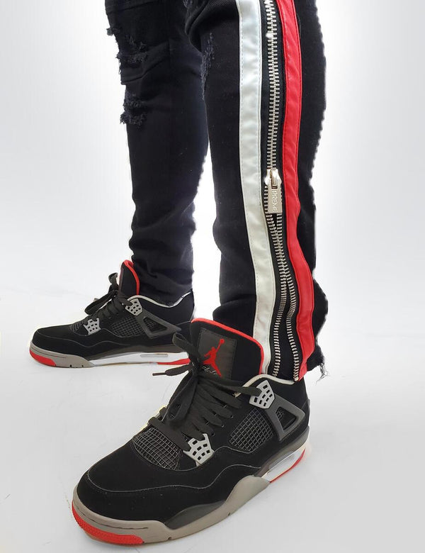 Preme: Buffalo Black Biker Denim (Red/White Leather Stripes)