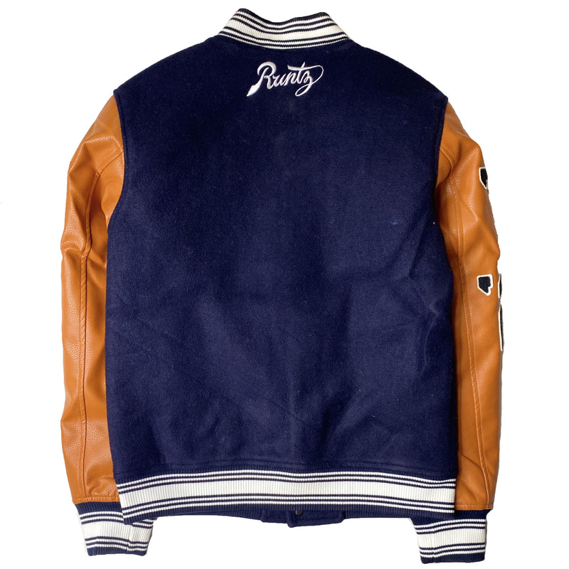 RUNTZ: UNLIMITED VARSITY JACKET (Navy/Orange)