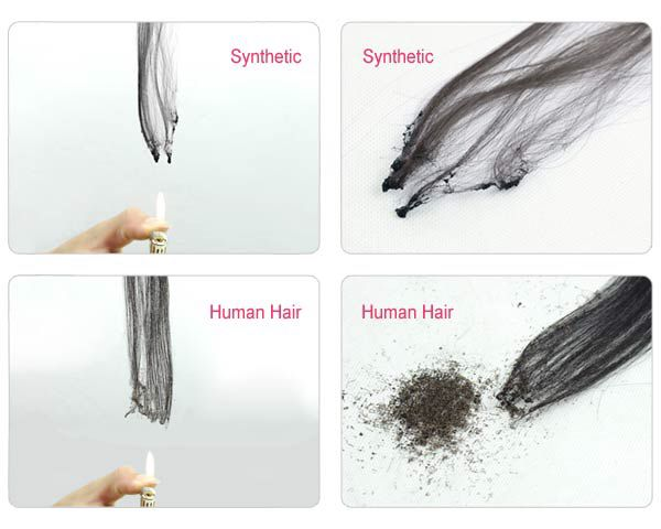 how do I distinguish human hair & synthetic hair