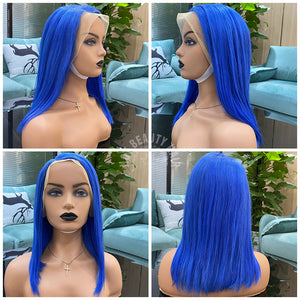 Hot Beauty Hair Blue Color 13x4 Frontal Lace Wig