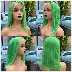 Hot Beauty Hair Green Color 13x4 Frontal Lace Wig