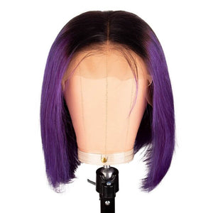 Hot Beauty Hair 1B/Purple Frontal Lace Bob Wig