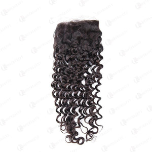 100% Human Virgin Hair 4*4 Lace Closure Deep Wave