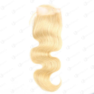 613 Blonde Body Wave Virgin Human Hair 4x4 Lace Closure Free Part