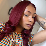 Hot Beauty Hair Burgundy Color Glueless Closure Lace Wig