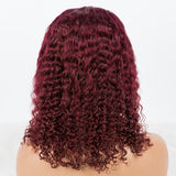 Hot Beauty Hair Burgundy Color Closure Bob Wig Deep Curl