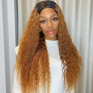 Hot Beauty Hair Bronze Brown Color High Density T Part Lace Wig Deep Wave