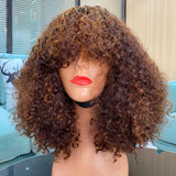 Exclusive Caniche Curly Style Bang Wig With Mixed Highlight