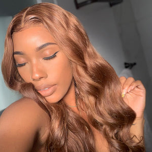 Hot Beauty Hair Ginger Brown 360 Lace Human Hair Wig