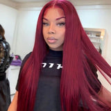 Hot Beauty Hair Burgundy Color Closure Lace Wig Straight