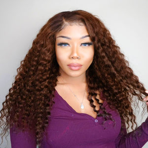 Hot Beauty Hair Chestnut Brown Closure Lace Wig Deep Wave