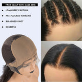 Hot Beauty Hair Fake Scalp Glueless 13x6 Frontal Lace Wig Bleached Knots