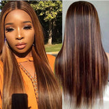 Hot Beauty Hair Mix Color Highlight Straight 4x13 Frontal Lace Wigs