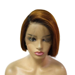 Hot Beauty Hair 1B/Brown Full Lace Bob Wig 100% Virgin Human Hair Straight